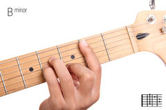 B minor guitar chord tutorial Stock Images