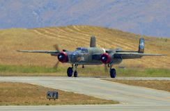 B-25 Mitchell bomber coming in for landing Royalty Free Stock Image