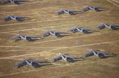 B-52航空器,戴维斯Montham波普空军基地,图森,亚利桑那的领域 库存照片