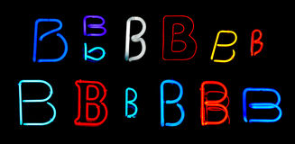 B Neon Letters Stock Image