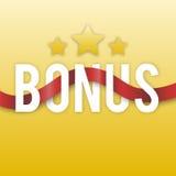 Bônus com estrelas e a fita vermelha em um fundo do ouro ícone Imagem de Stock Royalty Free