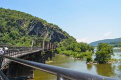 B&O Railroad Bridge in Harpers Ferry West Virginia allows both passenger and train traffic.  stock photo