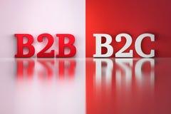 B2B och B2C ord i vita och röda färger stock illustrationer
