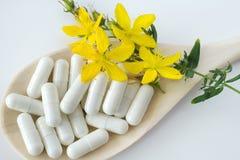 Błonia St John wort antidepressant - hypericum perforatum - Zdjęcia Stock