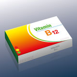 B12 Pills Package. Vitamin B12 pills - as a supplement to healthy diet and conscious nutrition for vegetarians and vegans - medical dummy packet with tablets Stock Image