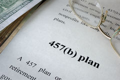 457b plan. 457b plan written in a document Royalty Free Stock Image