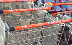 B&Q Shopping trolley with health and safety instructions. Manchester, UK - January 5th 2015: Leading UK DIY retailer B&Q Shopping trolley with health and safety Royalty Free Stock Photo