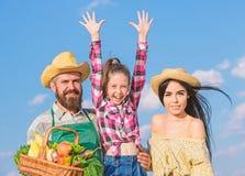 B?rtiger rustikaler Landwirt des Mannes mit Kind und Frau Familienvaterlandwirt-Mutterg?rtner mit Tochter nahe Ernte Familie stockfoto