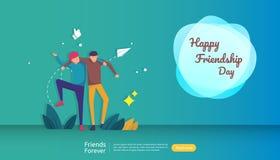b?sta v?nf?r evigtbegrepp f?r att fira lycklig kamratskapdagh?ndelse vektorillustration av det sociala f?rh?llandet med folk vektor illustrationer