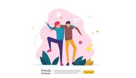 b?sta v?nf?r evigtbegrepp f?r att fira lycklig kamratskapdagh?ndelse vektorillustration av det sociala f?rh?llandet med folk stock illustrationer