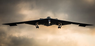B2 stealth bomber. American USAF B2 stealth bomber aircraft flying Royalty Free Stock Images