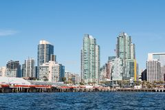 B Street Pier and Downtown Skyline in San Diego stock image