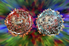 B- and T-lymphocytes. Immune cells. On colorful background. 3D illustration Stock Image
