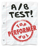 A B Test Top Performer Grade Paper Random Comparing Results Royalty Free Stock Images