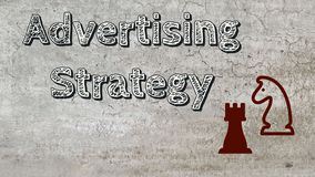 Advertising strategy. Marketing presentation template with sign stock photo