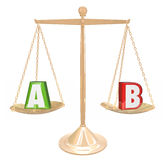 A B Testing Gold Scale Balance Comparing Choices Options Researc. A B Testing Letters on Gold scale or balance to illustrate comparing options or choices to Royalty Free Stock Photos