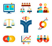 A-B testing vector icons set in flat design style Royalty Free Stock Photo