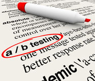 A/B Testing Words Dictionary Definition Experiment Message Perfo Stock Image