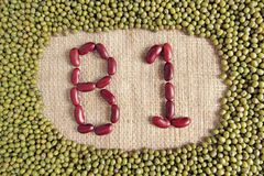 B1 text made by group of beans and lentils Stock Photography