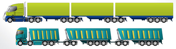 B triple road train. Trailer setups for cargo hauling Royalty Free Stock Images