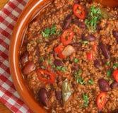 Bœuf haché aux piments et haricots rouges mexicain de boeuf Image libre de droits