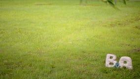 B- und a-Buchstaben in einem Park am Rasen stock footage