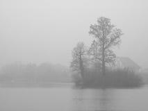 B/W有雾的海岛 免版税图库摄影