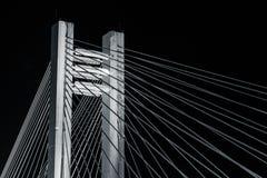 B&W桥梁- Basarab天桥在晚上 库存照片