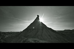 B&W έρημος σε Bardenas Reales, Navarra Στοκ Εικόνες