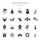 B&W εικονίδια καθορισμένα: Αντικείμενα Χριστουγέννων απεικόνιση αποθεμάτων