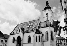 B&W εκκλησία του ST Marko στοκ φωτογραφία