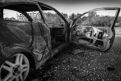 B&w abandonado del coche Fotos de archivo