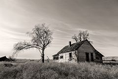 B&W of abandoned farm house. Stock Image