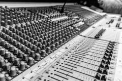 B&W of Analog Audio mixing console royalty free stock images