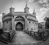 B&W Barbakan forteca w Krakowskim, Polska Fotografia Royalty Free