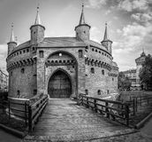 B&W Barbakan fortress in Cracow, Poland Royalty Free Stock Photography