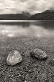 B&W of boulders in Redfish Lake. Royalty Free Stock Photos