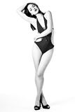 B&W Brunette beauty in swimsuit Royalty Free Stock Images