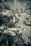 B&W of Cascade des Anglais waterfall near Vizzavona in Corsica Stock Image