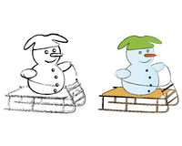 B&W and Colored Snowmen Royalty Free Stock Photos