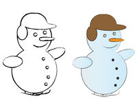 B&W and Colored Snowmen Royalty Free Stock Images