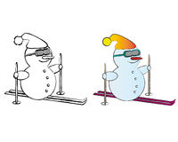 B&W and Colored Snowmen Stock Photo