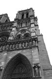 B&W cut-out of Notre Dame. Cut-out facade of world renownded Notre Dame de Paris church, in black and white stock photos