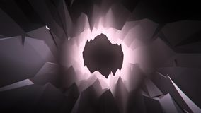 B&W 3D Low Poly Crystal Cave Tunnel Loopable Motion Background. Backdrop stock video footage