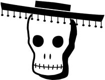 B&W Day of the Dead Skull. Mexican Day of the Dead Skull Royalty Free Stock Images