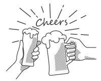B&w della mano di acclamazioni della birra illustrazione di stock