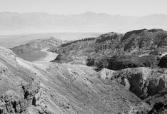 B&W desert mountains cliffs. Black and white stone desert mountains cliffs, Arava, Negev desert, Israel Royalty Free Stock Images