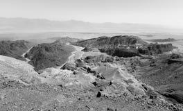 B&W desert mountains cliffs. Royalty Free Stock Photo