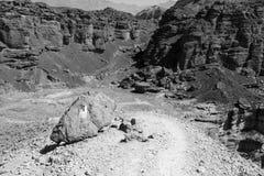 B&W desert mountains cliffs. Royalty Free Stock Photos