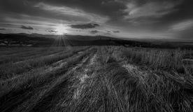 B&w di tramonto Fotografia Stock